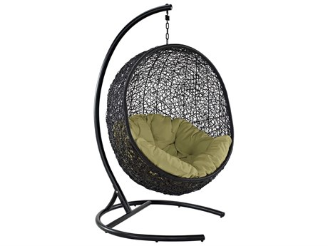 Modway Outdoor Encase Espresso Aluminum Swing Lounge Chair in Peridot
