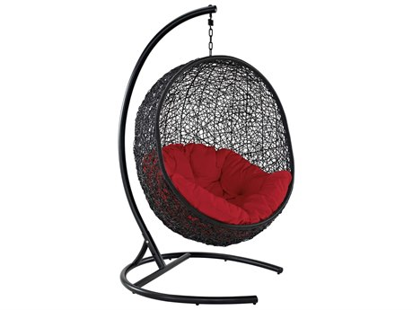 Modway Outdoor Encase Espresso Aluminum Swing Lounge Chair in Red