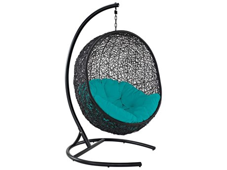 Modway Outdoor Encase Espresso Aluminum Swing Lounge Chair in Turquoise