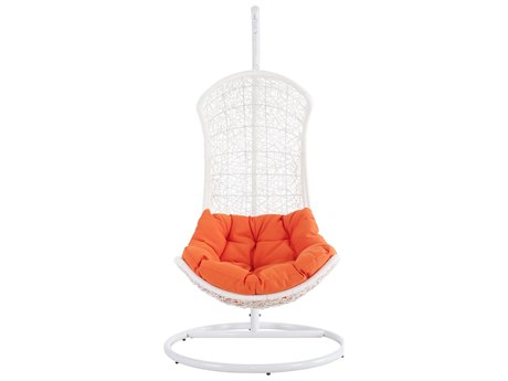 Modway Outdoor Endow White Aluminum Swing Lounge Chair in Orange