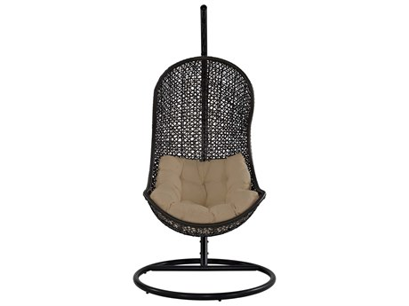 Modway Outdoor Parlay Espresso Steel Swing Lounge Chair in Beige