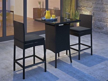 Modway Outdoor Cerveza Black Wicker 3 Piece Bar Set in Black