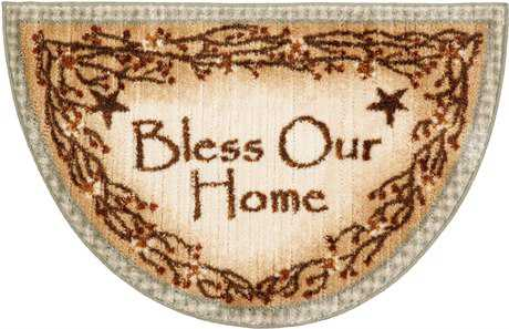Mayberry Cozy Cabin Bless Our Home Hearth Beige Area Rug