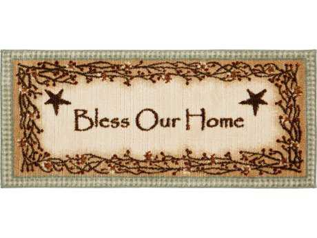 Mayberry Cozy Cabin Bless Our Home Rectangular Beige Area Rug