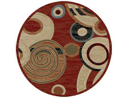 Mayberry City Ritz Round Red Area Rug