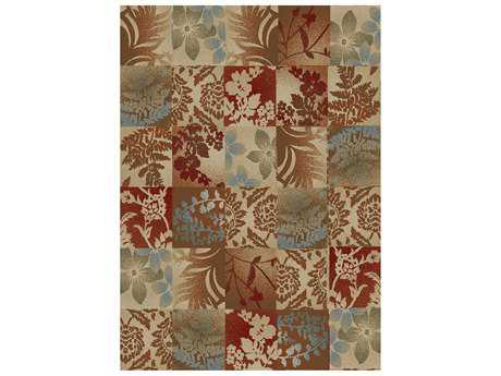 Mayberry Timeless Flowers Squared Rectangular Brown Area Rug