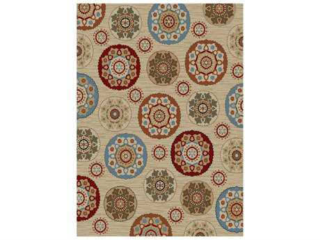 Mayberry Timeless Deco Pinwheel Rectangular Beige Area Rug