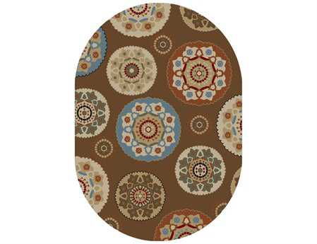 Mayberry Timeless Deco Pinwheel Oval Brown Area Rug
