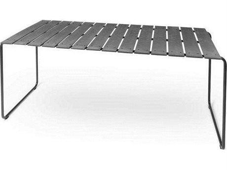 Mater Outdoor Ocean Concrete Green 55'' Wide Recycled Plastic Rectangular Dining Table PatioLiving