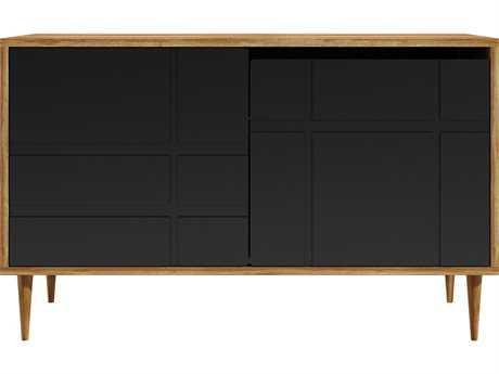 Mater Soren Natural Mango 47'' x 18'' Rectangular Sideboard with Black Door