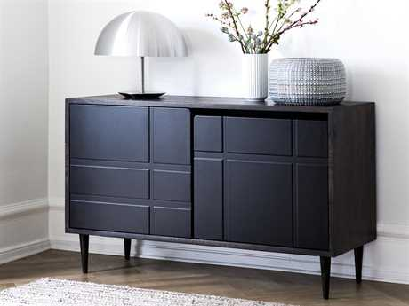 Mater Soren Natural Mango 47'' x 18'' Rectangular Sideboard with Black Door