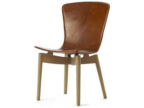 Mater Shell Top in Premium Brown Saddle Leather Dining Chair