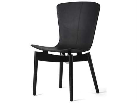 Mater Shell Black Leather Dining Chair