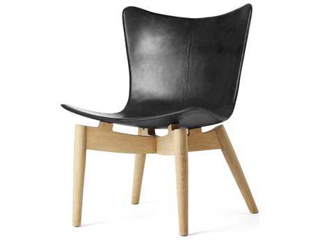 Mater Shell Black Leather Accent Chair