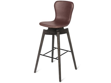 Mater Shell Brown Saddle Leather with Sirka Grey Base Bar Stool