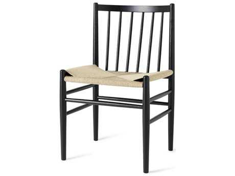 Mater Danish Black Stained Oak with Natural Cord Seat Dining Side Chair