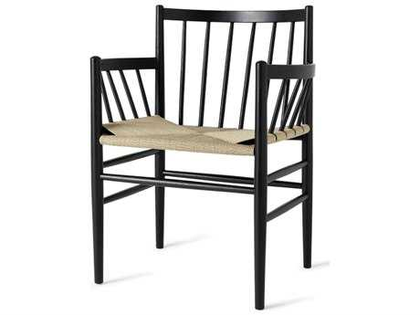 Mater Danish Black Stained Oak with Natural Cord Seat Dining Arm Chair
