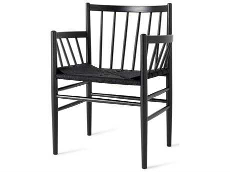 Mater Danish Black Stained Oak Dining Arm Chair