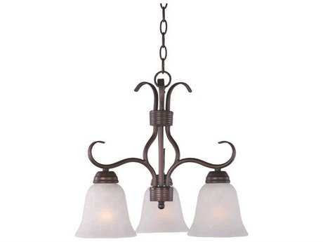Maxim Lighting Basix Oil Rubbed Bronze Three-Light 19 Wide Mini-Chandelier with Ice Glass