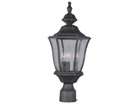 Maxim Lighting Madrona Rust Patina & Seedy Glass Three-Light 9.5'' Wide Incandescent Outdoor Post Light