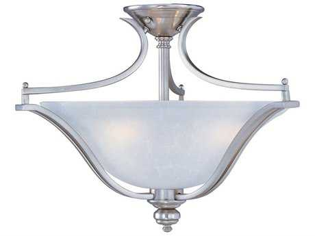 Maxim Lighting Madera Satin Silver & Ice Glass Three-Light 20'' Wide Semi-Flush Mount Light