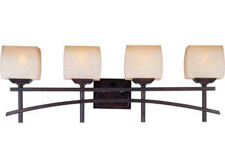 Maxim Lighting Asiana Roasted Chestnut & Wilshire Glass Four-Light Vanity Light