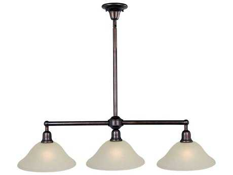 Maxim Lighting Bel Air Oil Rubbed Bronze & Soft Vanilla Glass Three-Light 44'' Long Island Light