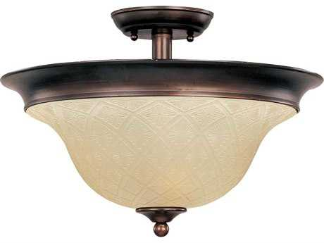 Maxim Lighting Brighton Oil Rubbed Bronze & Embossed Vanilla Glass Three-Light 16'' Wide Semi-Flush Mount Light