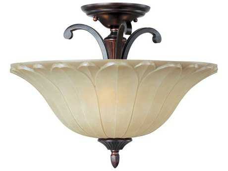 Maxim Lighting Allentown Oil Rubbed Bronze & Wilshire Glass Three-Light 18'' Wide Semi-Flush Mount Light