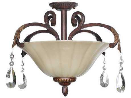 Maxim Lighting Augusta Auburn Florentine Three-Light 21'' Wide Semi-Flush Mount Light