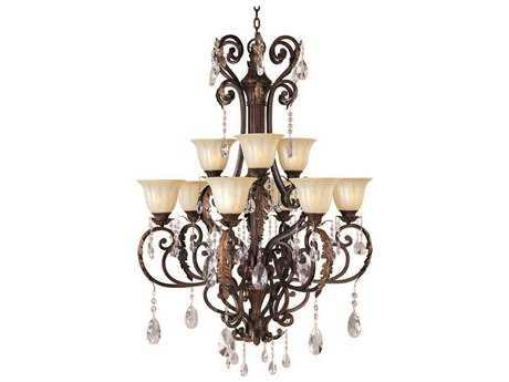 Maxim Lighting Augusta Auburn Florentine Nine-Light 34.5 Wide Grand Chandelier