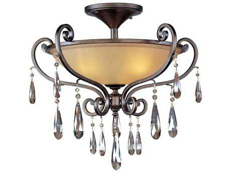 Maxim Lighting Chic Heritage & Cognac Glass Three-Light 26'' Wide Semi-Flush Mount Light