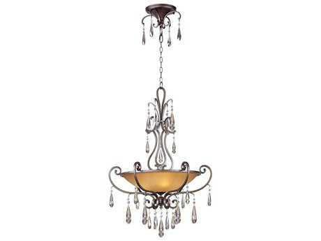 Maxim Lighting Chic Heritage & Cognac Glass Four-Light 27'' Wide Pendant Light