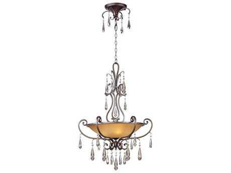 Maxim Lighting Chic Heritage & Cognac Glass Four-Light 27'' Wide Pendant Light