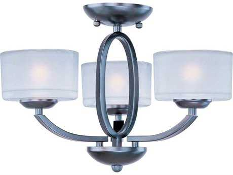Maxim Lighting Elle Oil Rubbed Bronze & Frosted Glass Three-Light 17'' Wide Semi-Flush Mount Light