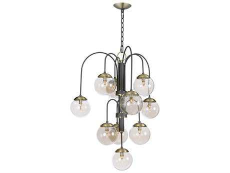 Maxim Lighting Reverb Textured Bronze & Satin Brass with Topaz Bubble Glass Ten-Light 30'' Wide LED Chandelier