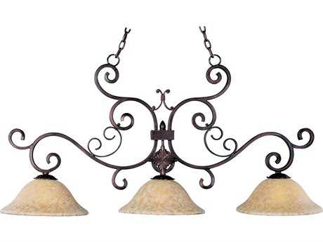 Maxim Lighting Verona Oil Rubbed Bronze & Vintage Amber Glass Three-Light 48'' Long Island Light