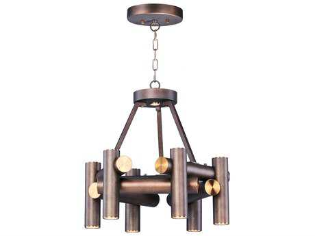 Maxim Lighting Tubular Bronze Fusion & Antique Brass Seven-Light 20'' Wide LED Mini Chandelier