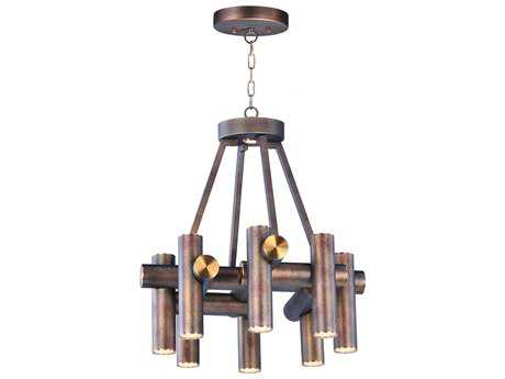 Maxim Lighting Tubular Bronze Fusion & Antique Brass Nine-Light 20'' Wide LED Mini Chandelier
