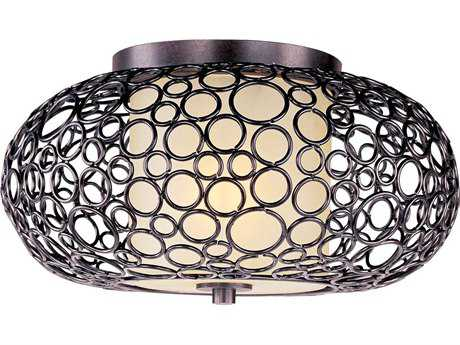 Maxim Lighting Meridian Umber Bronze & Dusty White Glass 16.5'' Wide Flush Mount Light