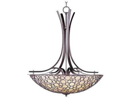Maxim Lighting Meridian Umber Bronze & Dusty White Glass Four-Light 30'' Wide Pendant Light