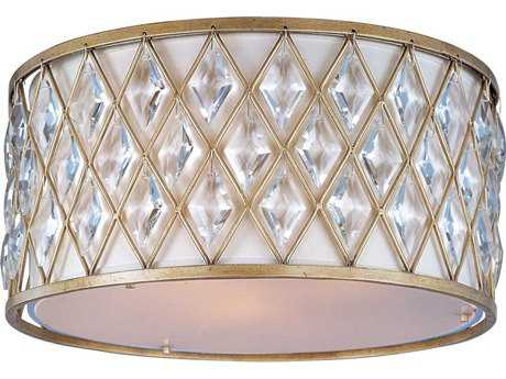 Maxim Lighting Diamond Golden Silver Three-Light 18'' Wide Flush Mount Light