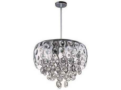 Maxim Lighting Ripple Polished Nickel & Water Glass Ten-Light 19'' Wide Pendant Light