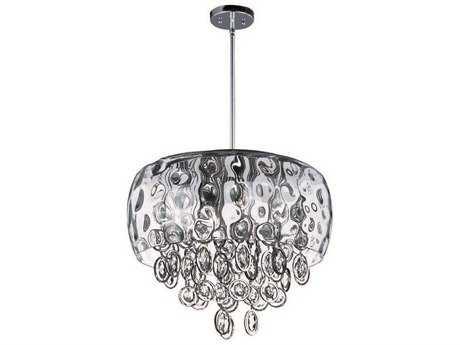 Maxim Lighting Ripple Polished Nickel & Water Glass Ten-Light 19'' Wide Pendant Light