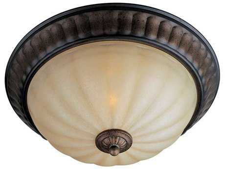 Maxim Lighting Fremont Platinum Dusk & Wilshire Glass Two-Light 15'' Wide Flush Mount Light