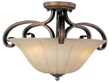 Maxim Lighting Fremont Platinum Dusk & Wilshire Glass Three-Light 21'' Wide Semi-Flush Mount Light