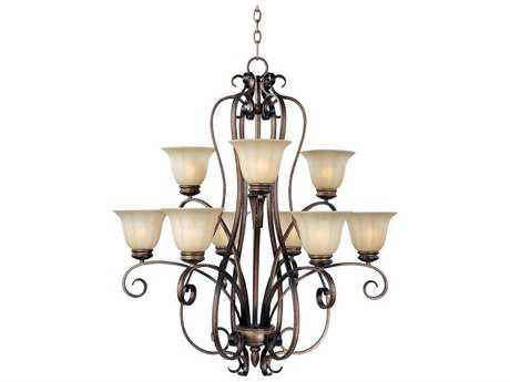 Maxim Lighting Fremont Platinum Dusk Nine-Light 34 Wide Chandelier