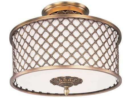 Maxim Lighting Manchester Natural Aged Brass Three-Light 15.5'' Wide Semi-Flush Mount Light