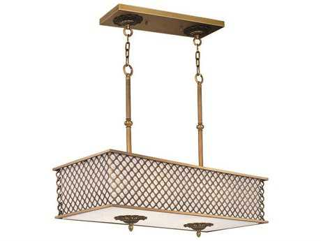 Maxim Lighting Manchester Natural Aged Brass Eight-Light 35.5'' Long Island Light