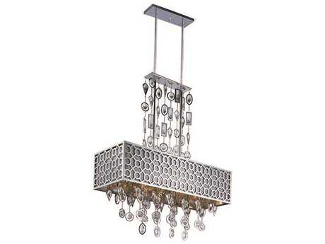 Maxim Lighting Symmetry Polished Nickel Eight-Light 32'' Long Island Light